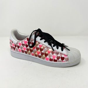 Adidas originals superstar 2 hearts print sneakers